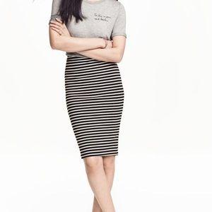 H&M   black & white striped pencil skirt